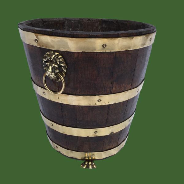 Oak and Brass Bound Peat Bucket