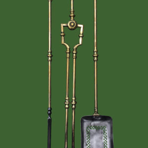 C19th Brass Fire Irons